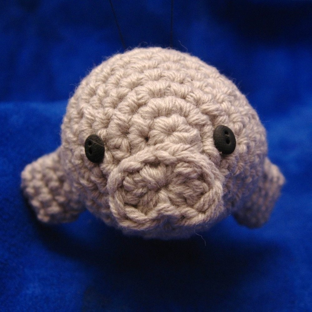 Amigurumi Manatee Pattern : Crochet Swordfish and Manatee Pattern Set PDF by NeedleNoodles