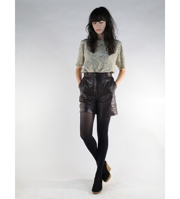 Brown Leather High-Waisted Shorts