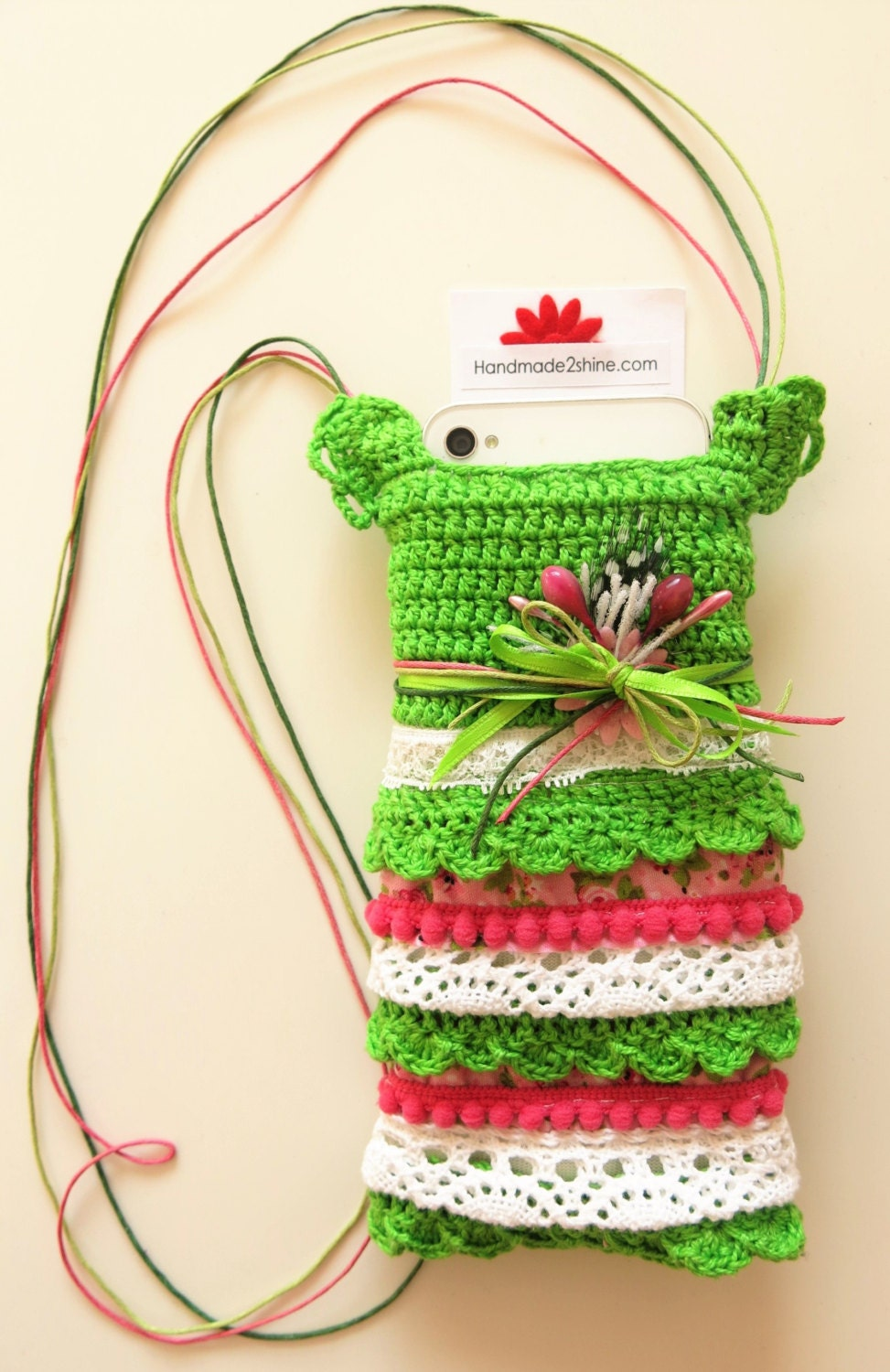 Iphone case  necklace bag glasses  iPod Case  handmade2shine crocheted green pink white handytasche  funda movil  fabric case