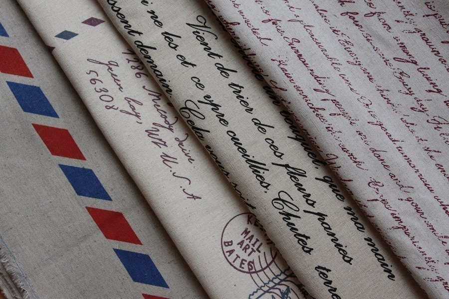 Japanese cotton linen blended fabric - Writing Paper - 18in x 27in
