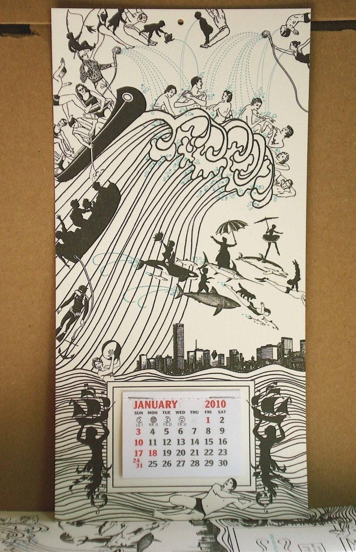 Tidal Wave 2010 - letterpress calendar