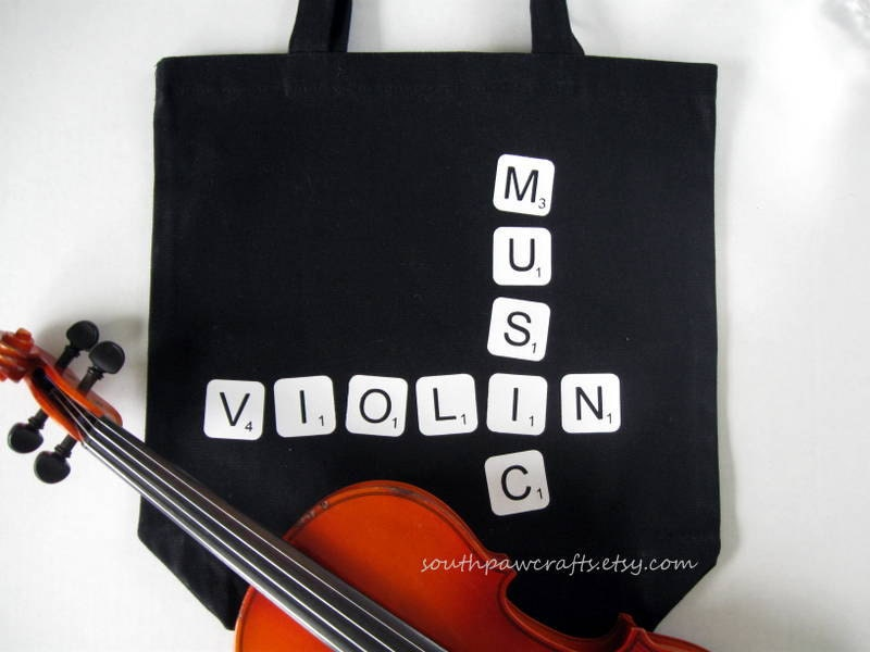 Violin or Viola Music Scrabble Tile Tote Bag - Music Tote