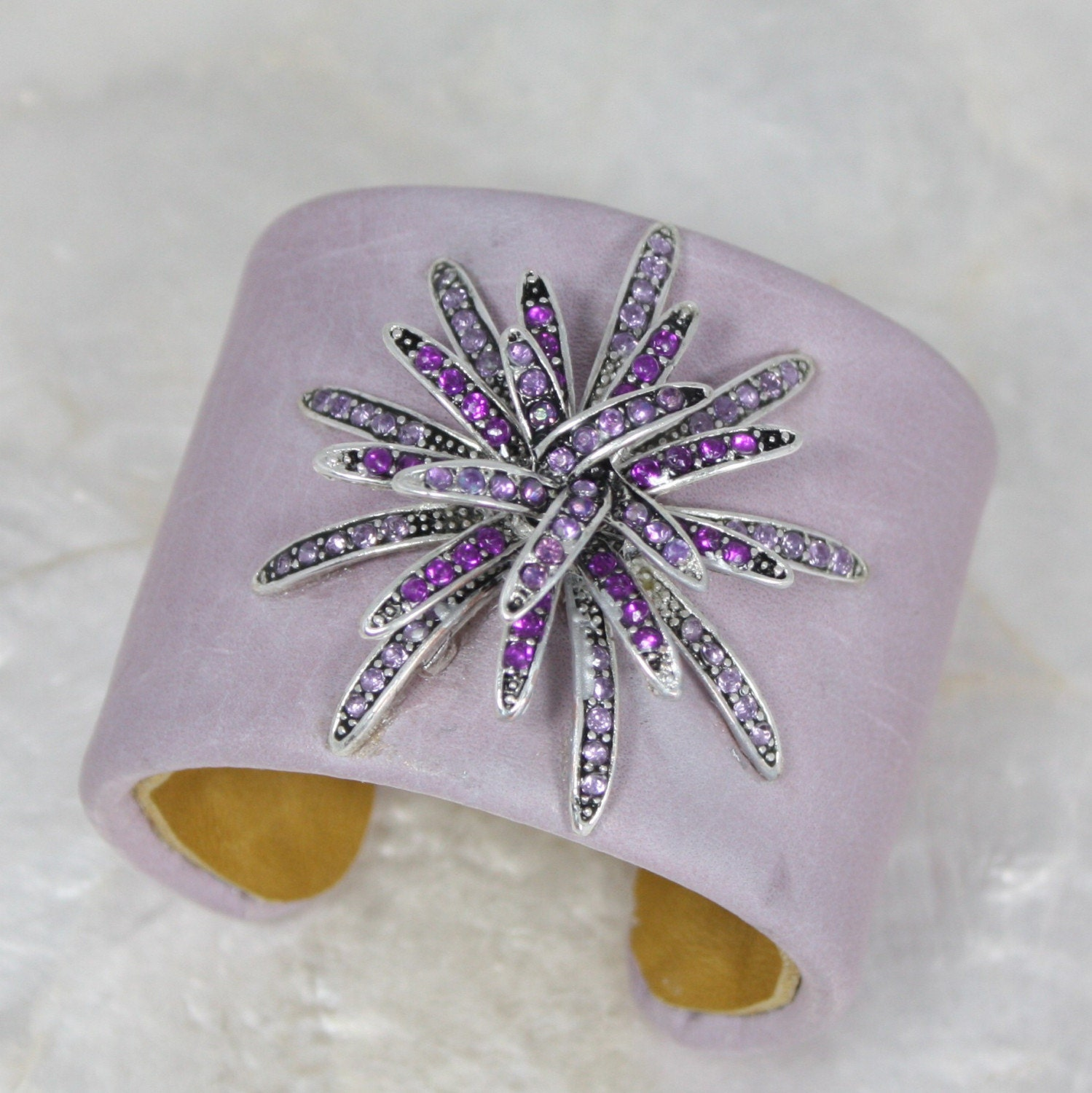 Lilac Star Jeweled Leather Cuff Bracelet-- OOAK