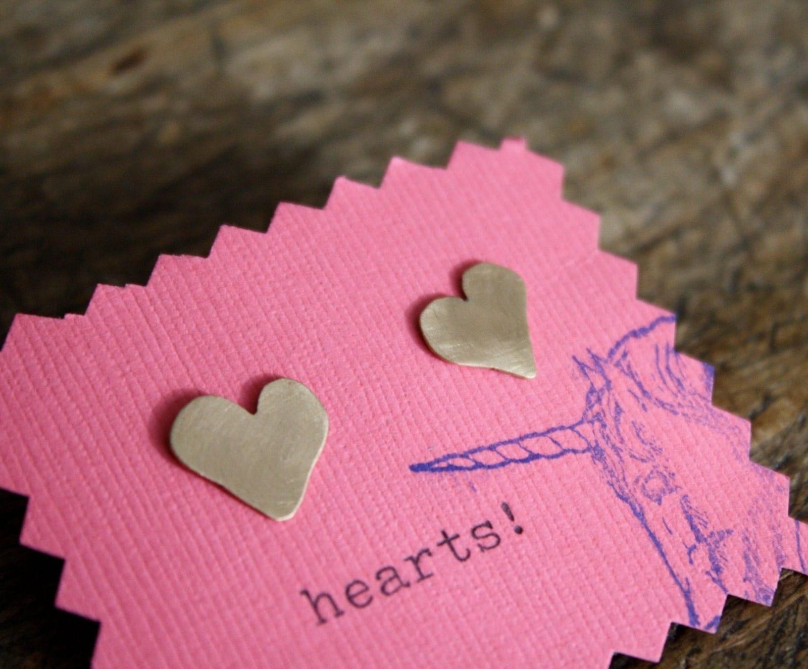 Iddy Biddy Brass Heart Earrings