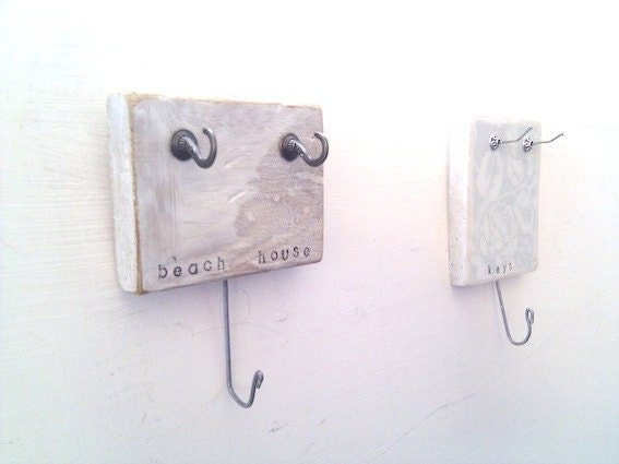 Small Key Holder White Beach House Wall Mounted Wood By Ayliss