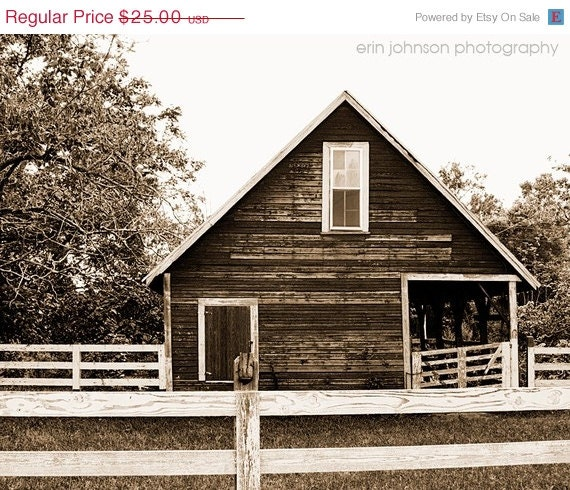 SALE CIJ landscape photography brown decor barn rural rustic farm decor white fence wall art  Old Sepia Barn 8x10 christmasinjuly - eireanneilis