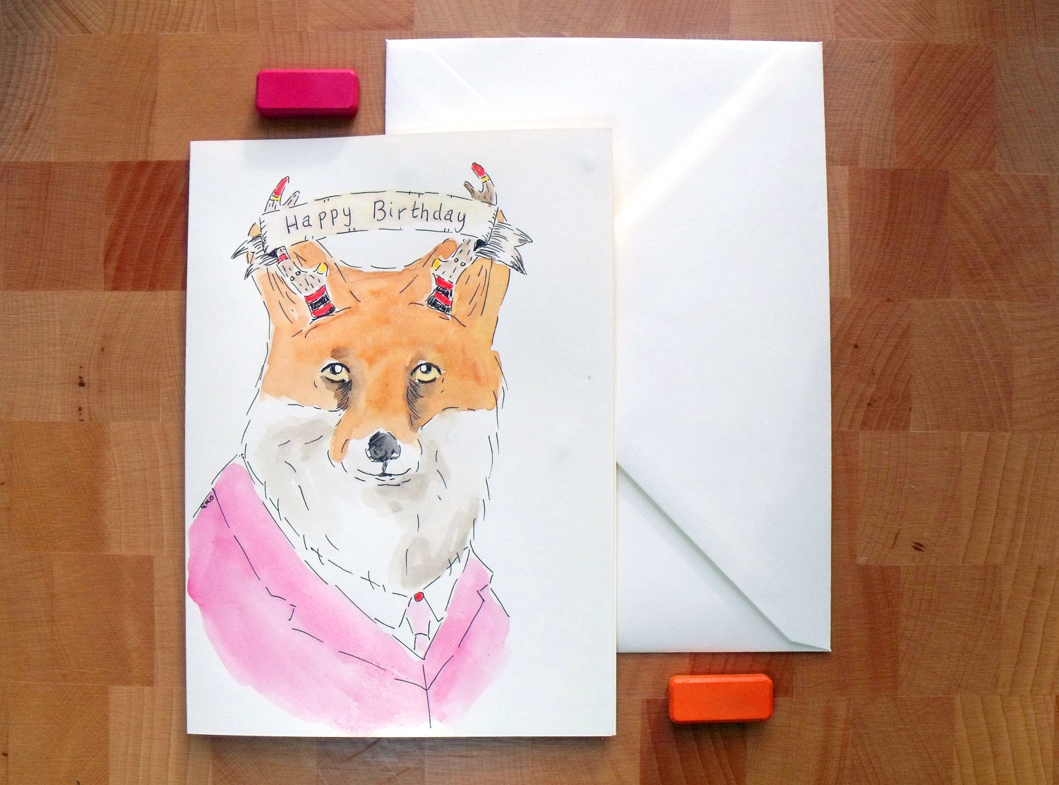 Hand Drawn Animal Birthday Card - Fox with Painted Antlers - Handmade Card