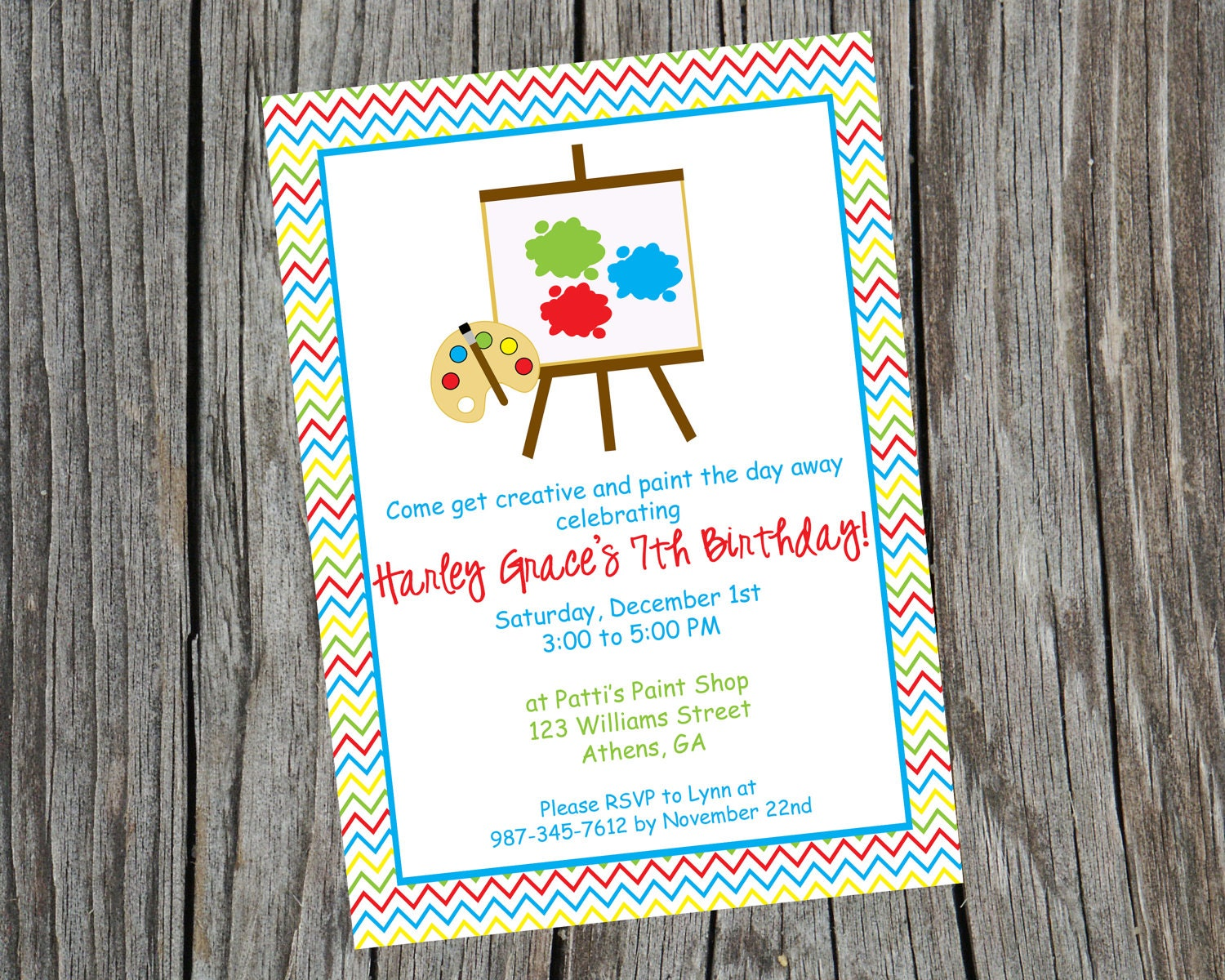 Custom printable painting party invitation by cohenlane for Arts and craft paint