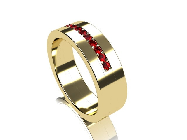 Items Similar To Ruby Ring Yellow Gold Mens Wedding Band Men Ruby Wedding