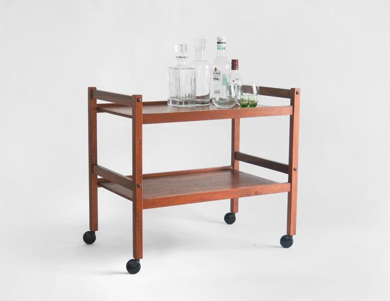 items similar to vintage danish teak bar cart mid century modern retro shelf on etsy. Black Bedroom Furniture Sets. Home Design Ideas