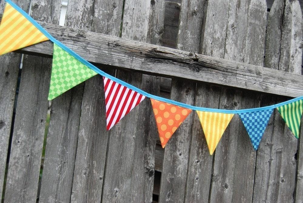 Circus Theme Birthday Mini- Bunting / Banner -- in red, yellow, blue, green, orange