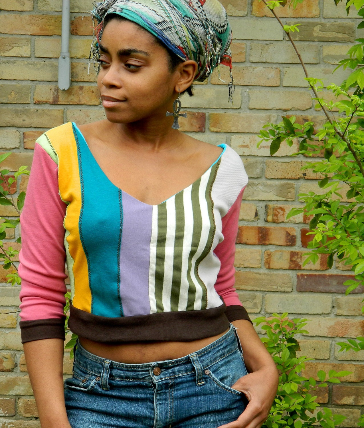 flyTie original patchwork knit top