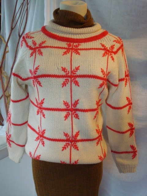 Vintage 60s Christmas Ski Sweater Snowdrop Design  Needs Work