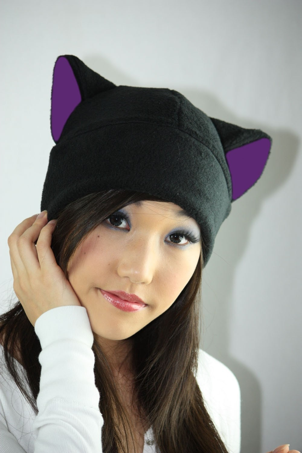 BLACK / PURPLE KITTY cat fleece HAT cosplay ANIME