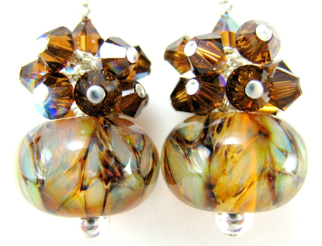 Earrings Gold Brown Opaline Boro Lampwork Crystal Cluster Sterling Silver - Brown Sugar
