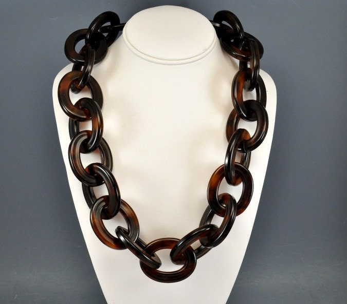 Vintage runway tortoise shell necklace lucite by boylerpf for Real tortoise shell jewelry