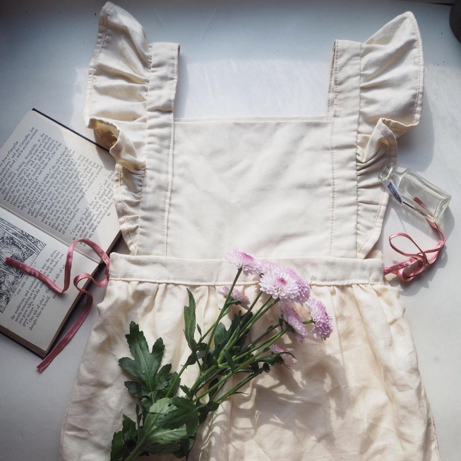 Girls birthday party dress Alice in Wonderland fairy princess pinafore vintage flower girl photo shoot little house on the prairie dress.
