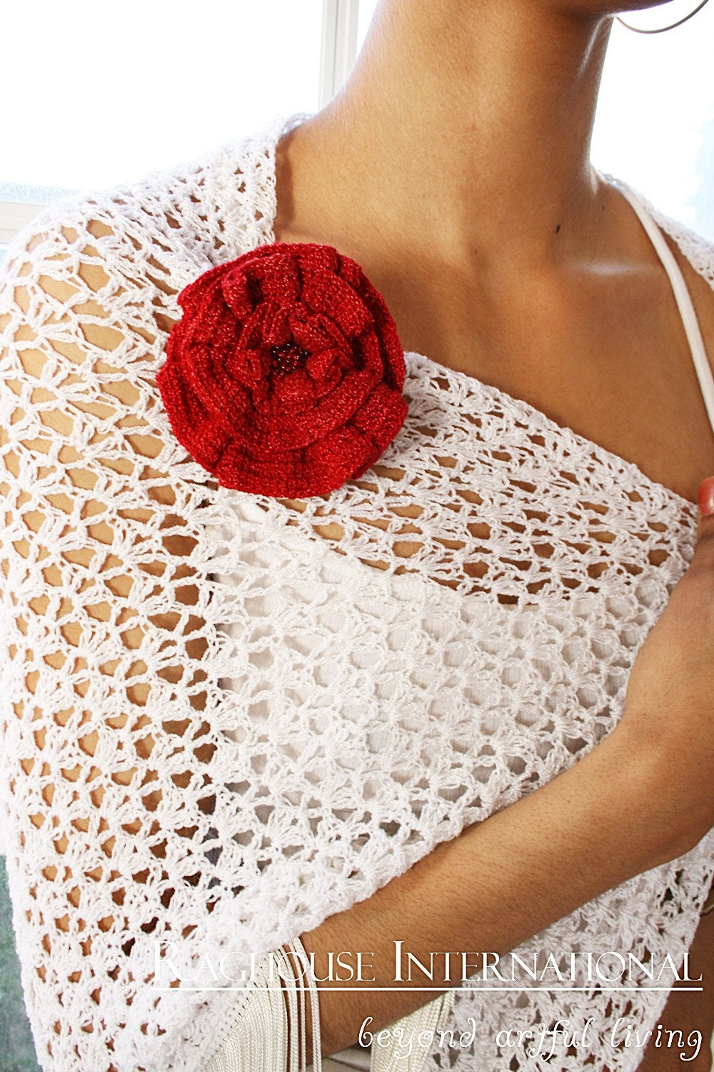 Red Rose Brooch Crochet Gift of Love by raghousenternational from etsy.com