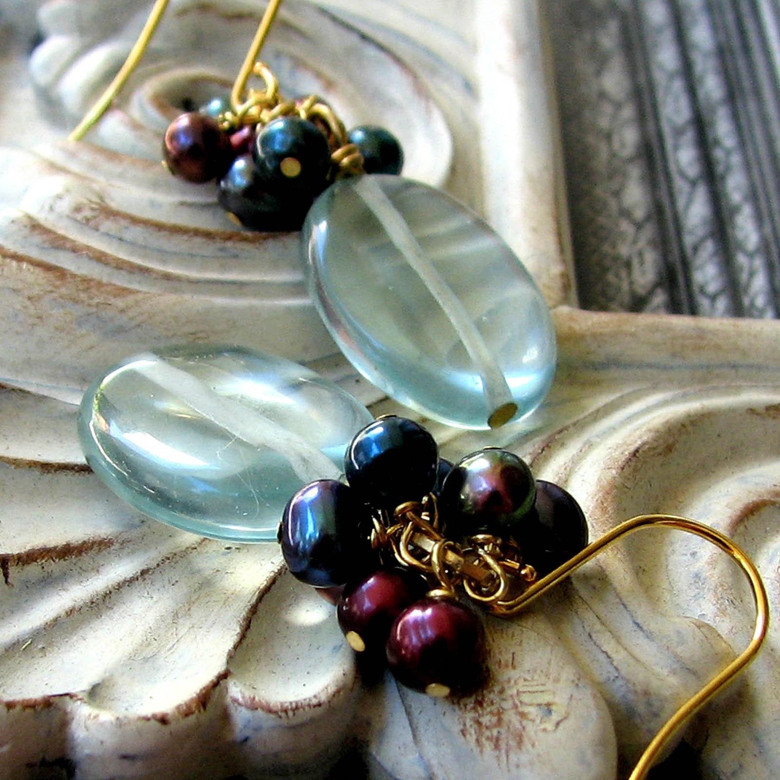 Talle Venetian Ocean Blue Glass With Purple Blue Pearls Earrings