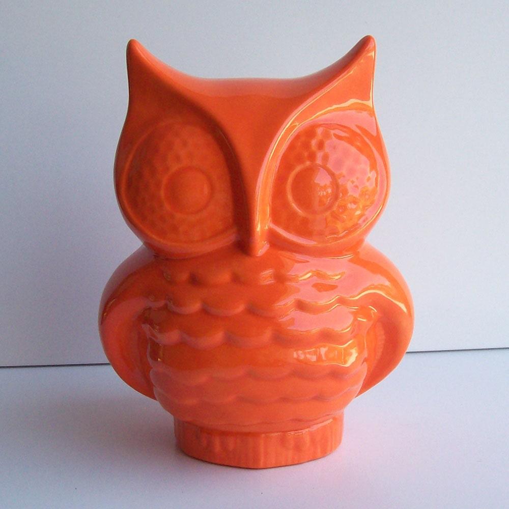 Ceramic Owl Planter Vintage Design Orange