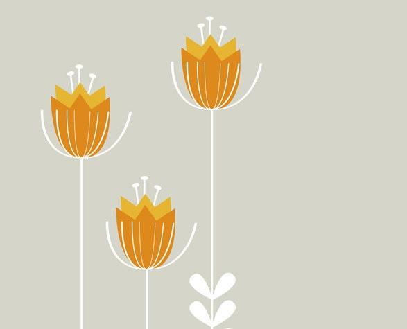 Orange Wildflower Botanical Art Print - 11 x 14 - Limited Edition