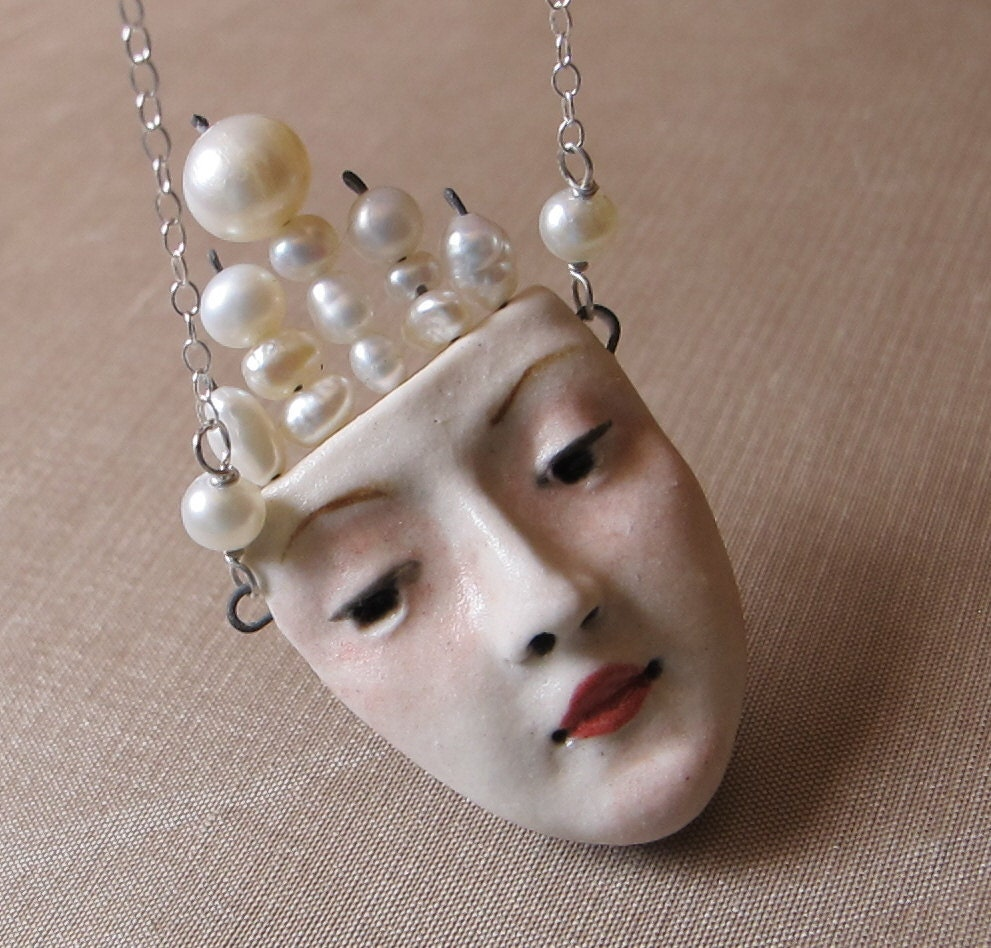 Pearls of Wisdom - Porcelain Pendant with Sterling Silver