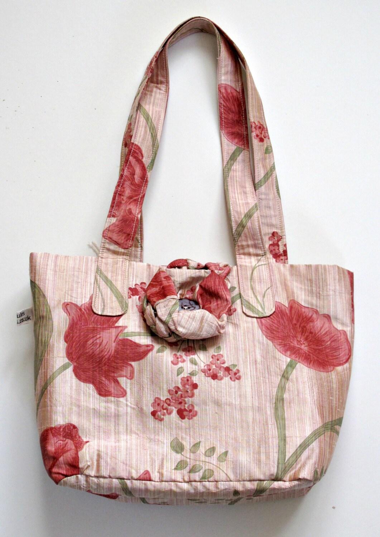 Silk handbag  handbag  pink silk handbag  silk purse  silk handbag  handbag gift  purse  pink flower purse  pink flower handbag