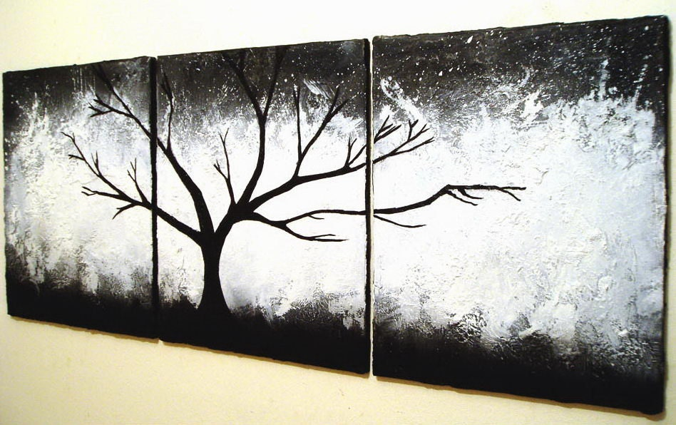 Original painting abstract triptych landscape by wrightsonarts Black and white canvas art