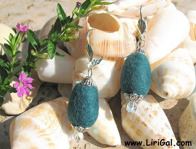 Pine Green Felted Earrings