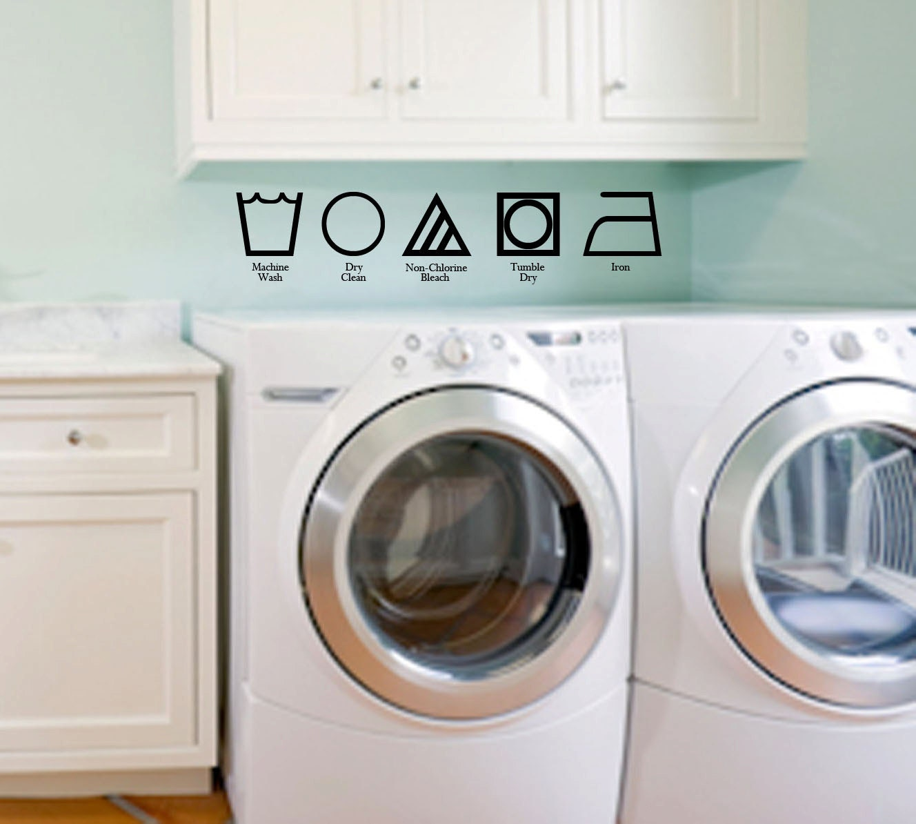 Laundry Washing Symbols w/Labels Decor/Sticker FREE SHIPPING VI00102