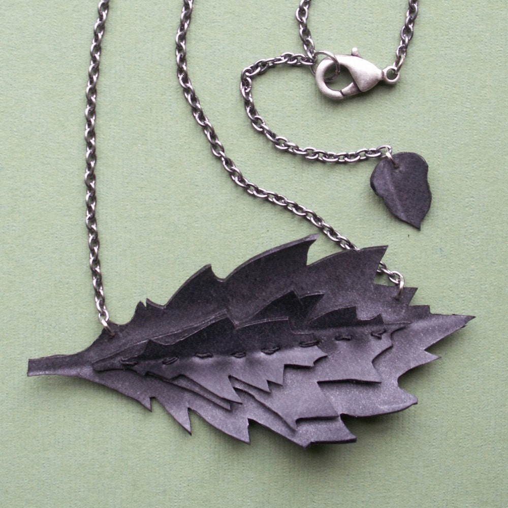 Upcycled Rubber Oakleaf Necklace