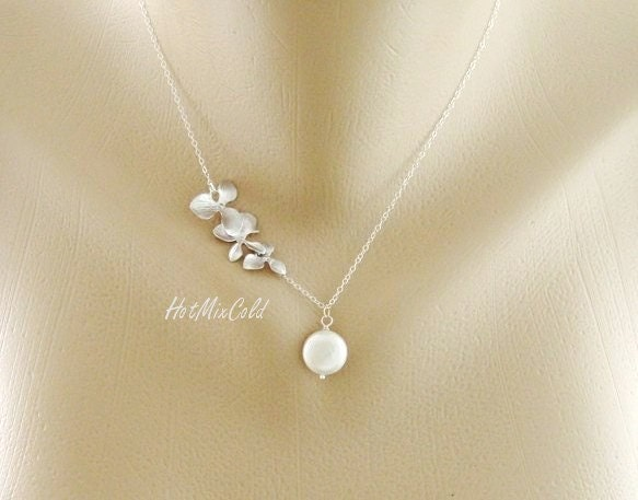 silver orchid necklace dainty white coin pearl by hotmixcold