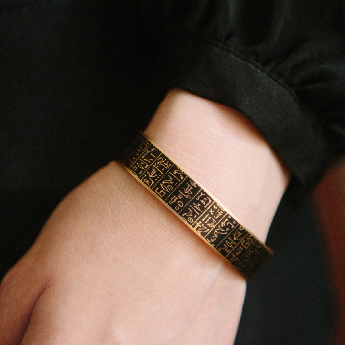 Hieroglyphs Skinny Cuff Bracelet  Hieroglyphic Egyptian Jewelry  Ancient Egypt Hieroglyphs  Gift For Women  Archaeologist Gift