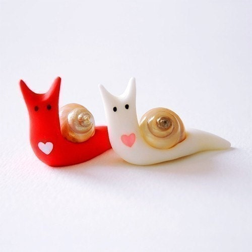 Snails in love - polymer clay magnets - The last set