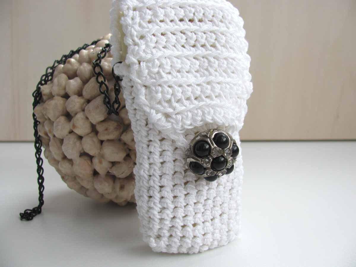 Crochet Cell-Phone Pouch - Vintage Dream - OOAK