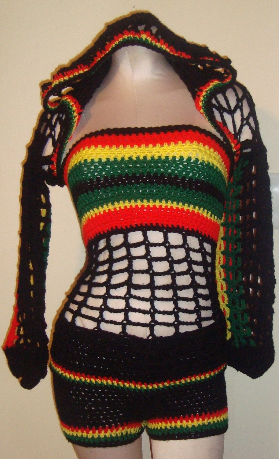Bob Marley Colors - Hooded Shrug w/ Matching Boy Shorts and Tube Top