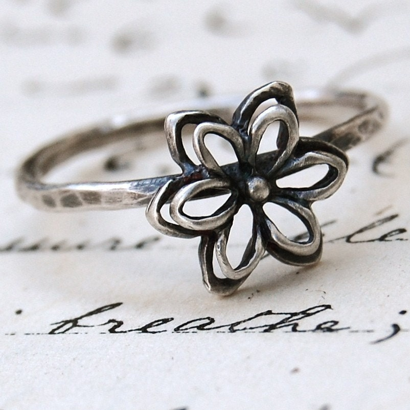 Spring Flower - Sterling Silver Stacking Ring - Your Size