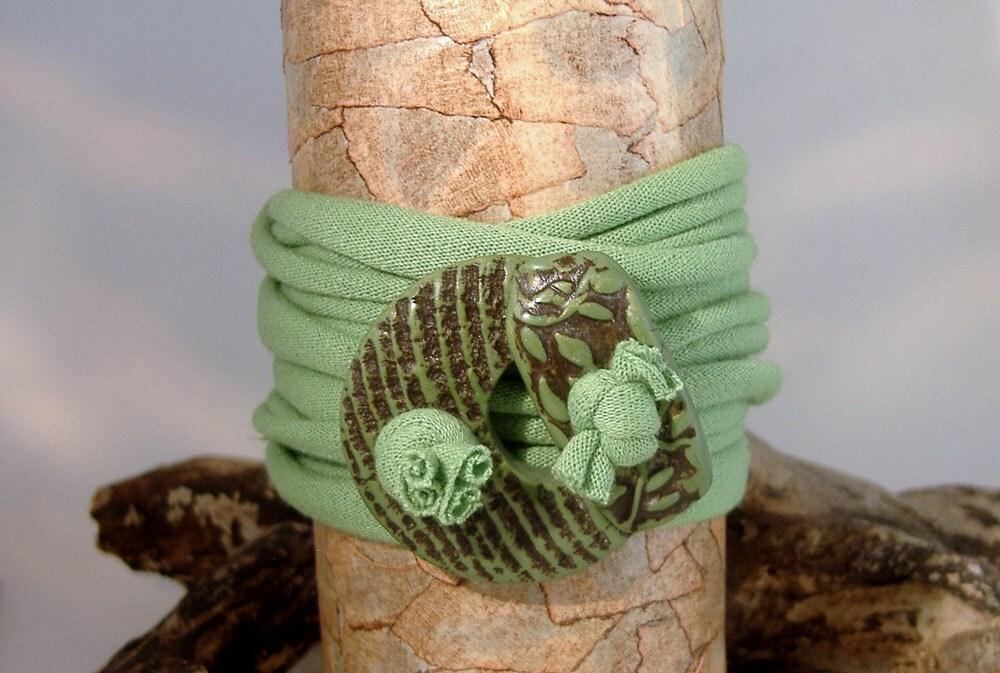 Wrap Bracelet - Anklet - Necklace - Spring Green - Textured Toggle