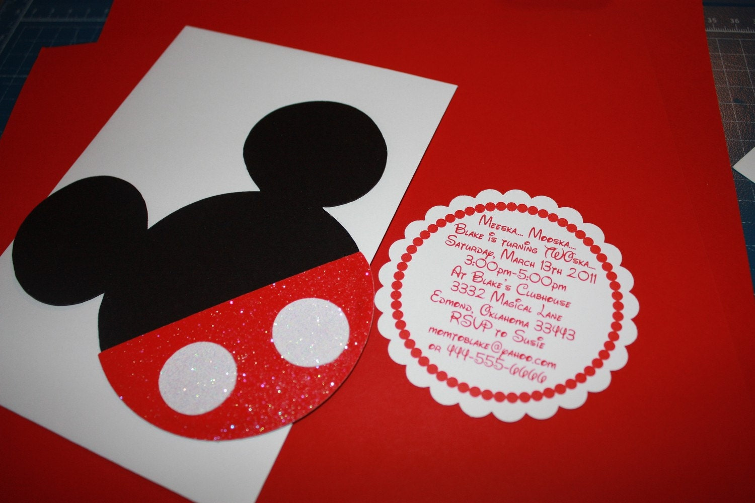 28 Mickey Mouse Shaped Birthday Invitations with red and white kids boys birthday first second third