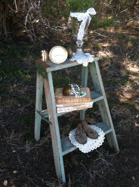 Vintage Jadeite Wooden Step Ladder Stool By Timelessnchic