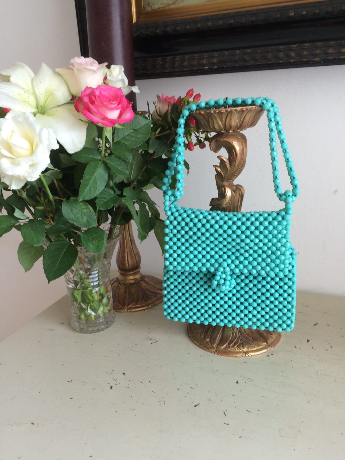 Vintage Mod 1960s Shoulder Bag Handbag 100s of Aqua Beads Hand Made Gift Retro Ramsgate