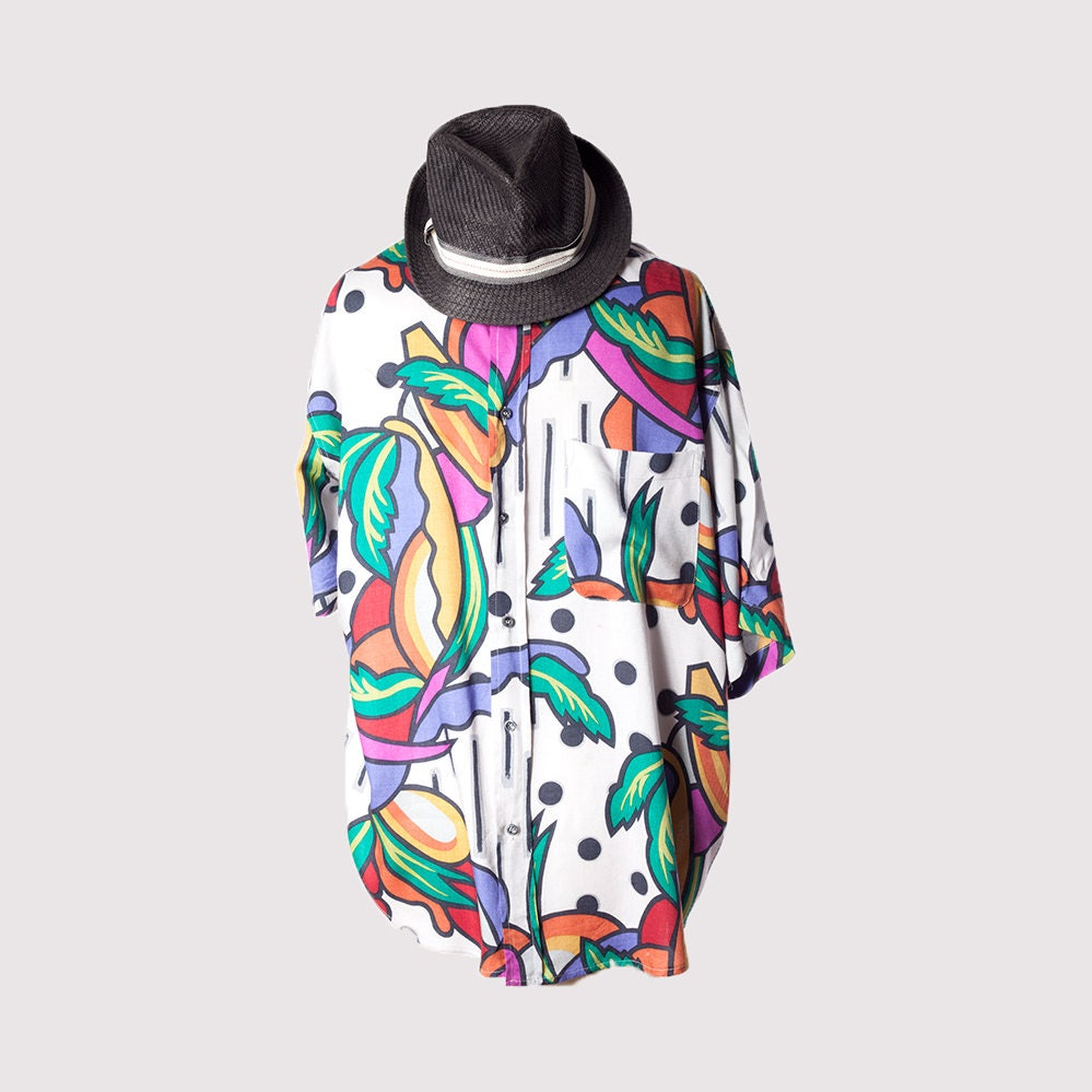 90s summer shirtHolidays shirtShort sleeve shirtButton up shirt90s Mens clothingClourful shirtTropical hipster shirtColorful shirt