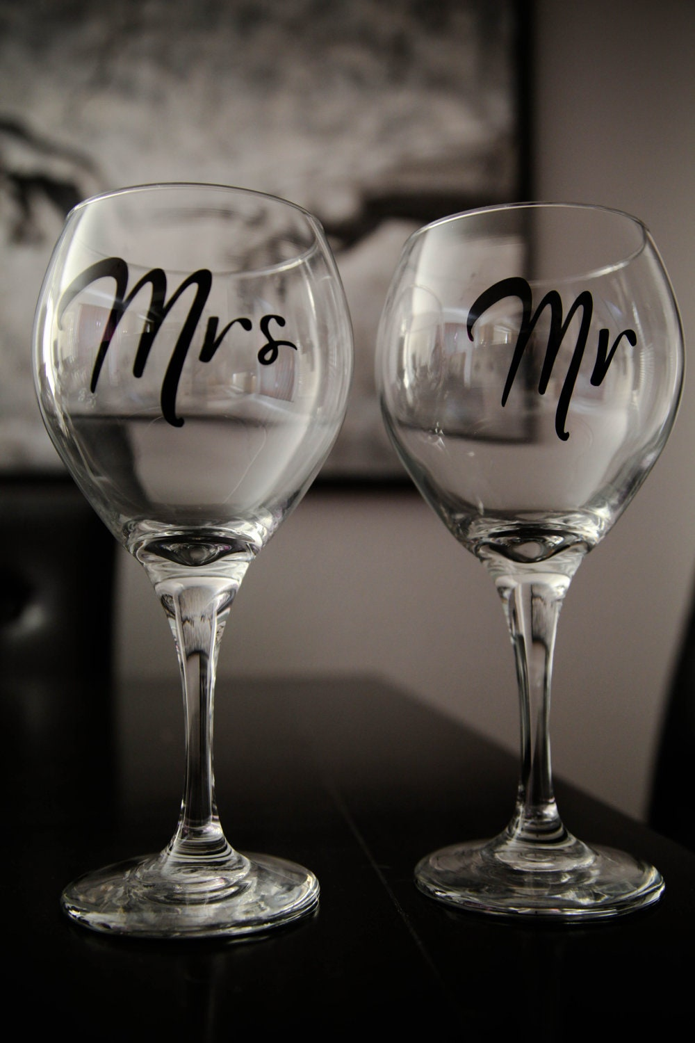 Mr & Mrs Wine Glasses. Wedding gifts for bride and by GiomadiInc