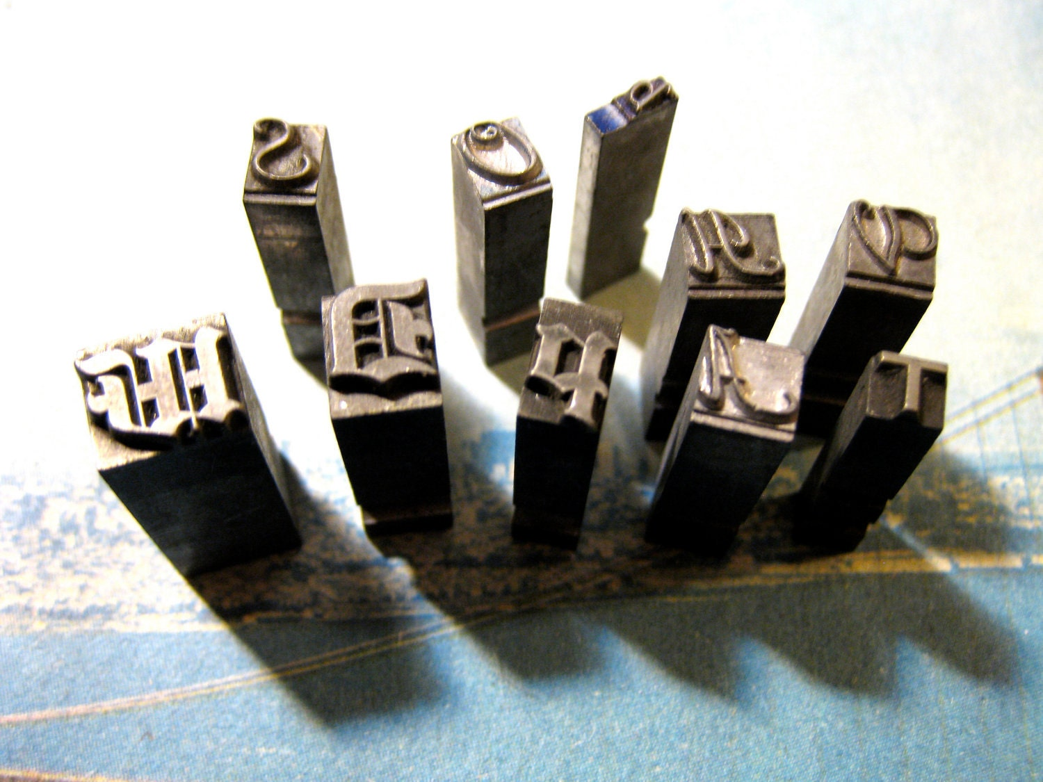 set of 10 antique printing press blocks by californiazephyr With old printing press letters