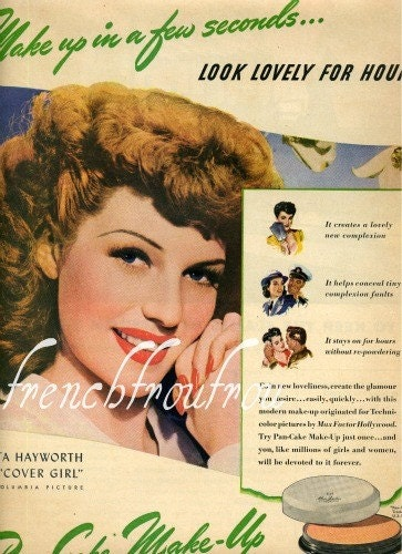 max factor pan stik makeup. vintage pinup girl makeup.