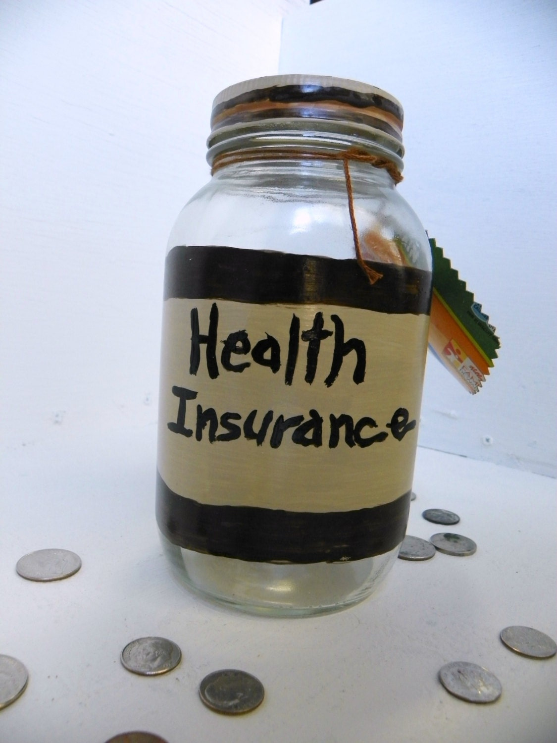 Health Insurance Fund Recycled Money Jar Upcycled Money Jar Change Jar - FeathandKee