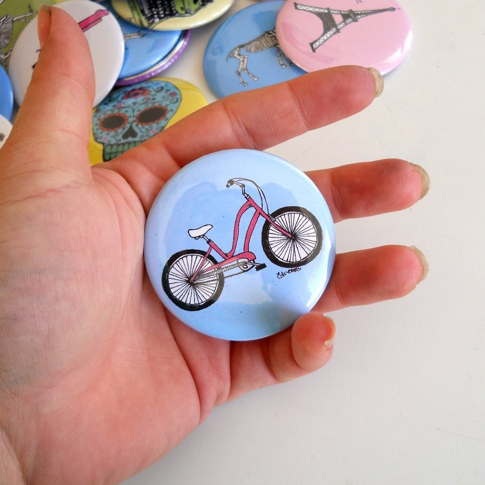 Townie Electra Cruiser bicycle  Pin back Button with in pink and blue or custom colors