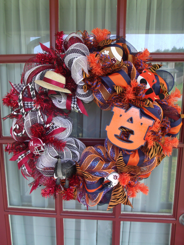 Crimson Tide Auburn Tigers House Divided Orange Deco Mesh Door Wreath