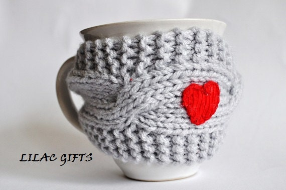 Mug Cozy, Cup Cosy, Mug Warmer knitted, grey color,red heart