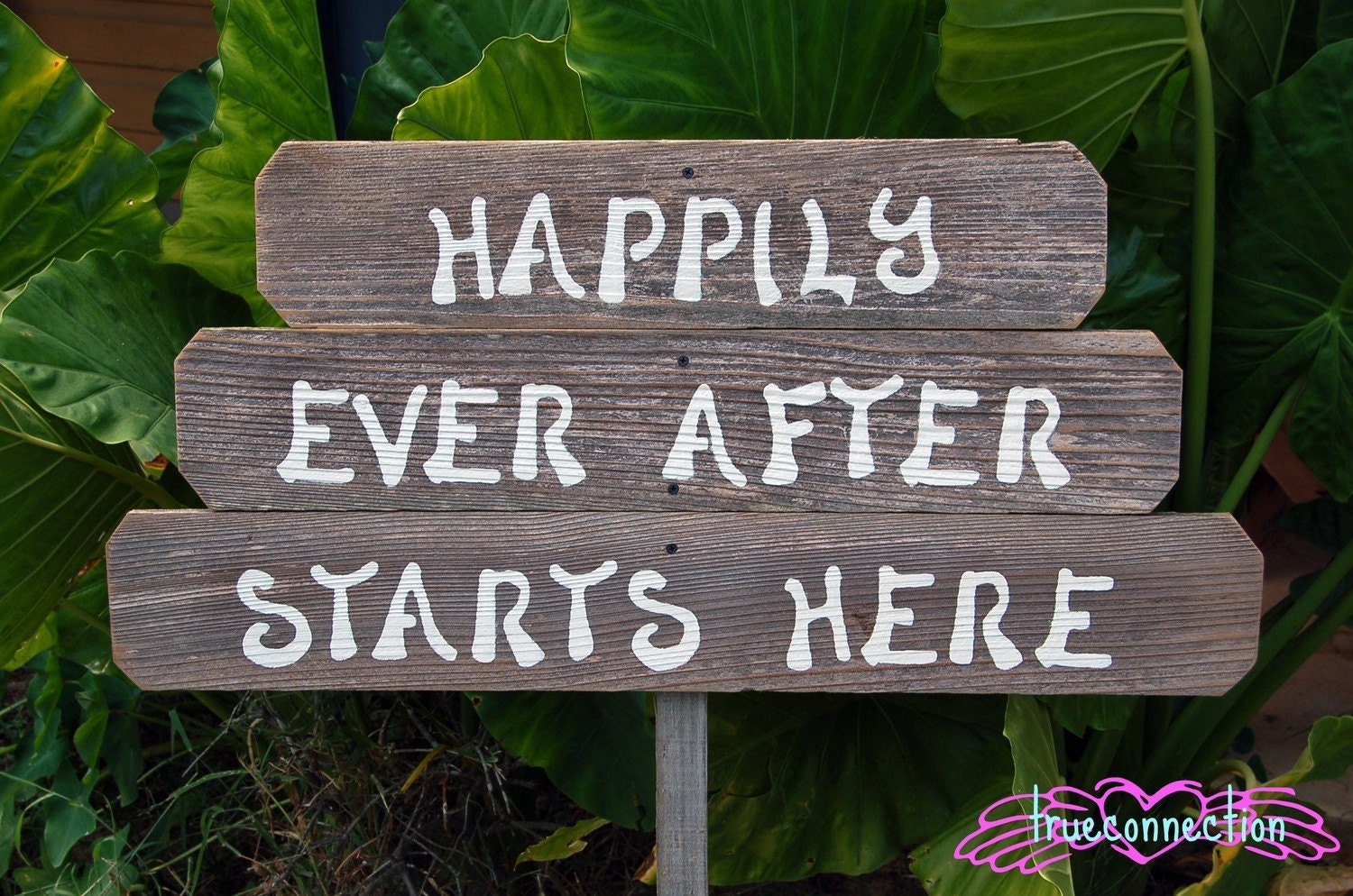 Reclaimed Wood. HAPPILY EVER AFTER STARTS HERE. Wedding Signs With 1 Stake. Hand Painted Custom Order.